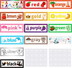 14 Pieces Colors Bulletin Board with 40 Pieces Adhesive Dots for Toddler and Kids Learning Colors
