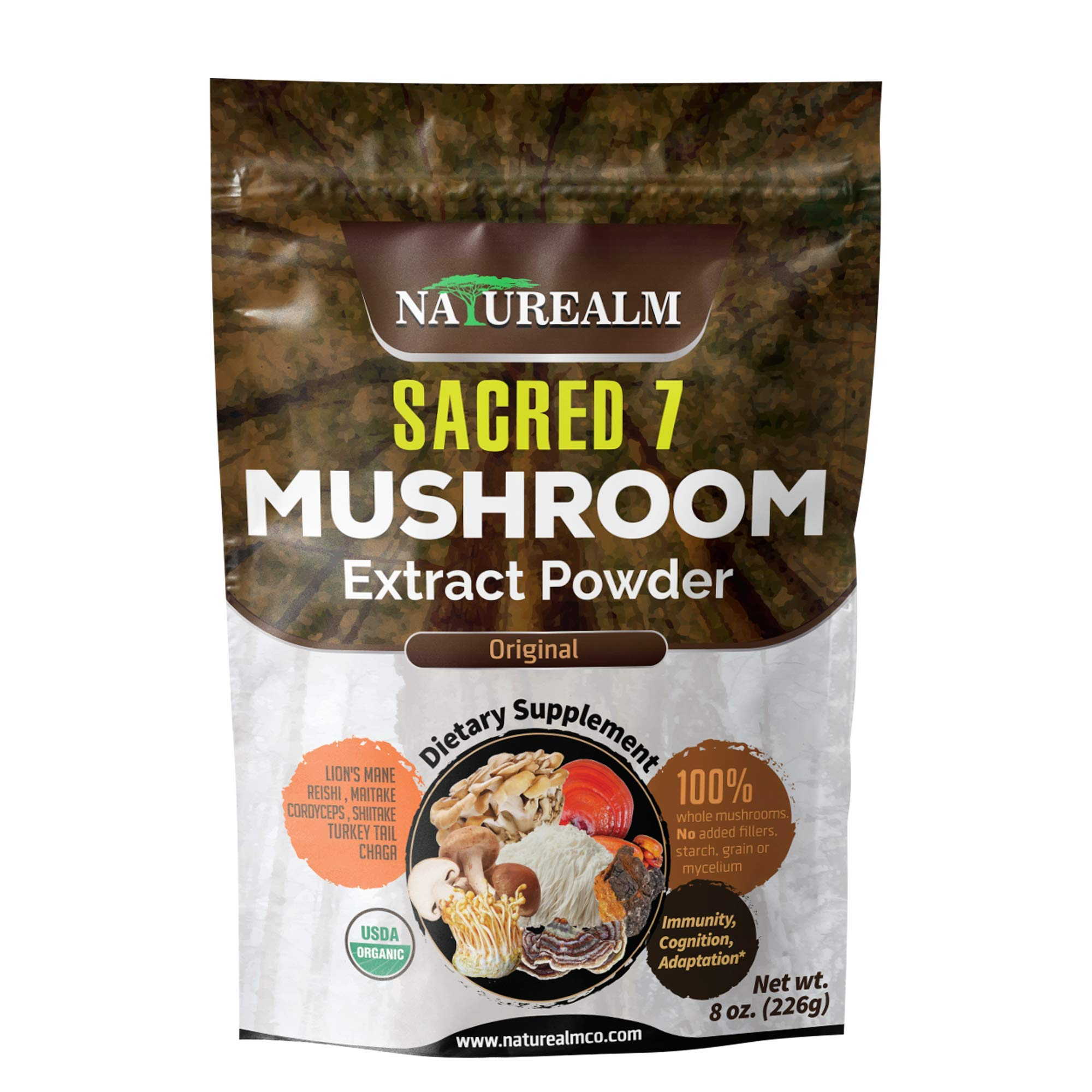 SACRED 7 Mushroom Extract Powder - USDA Organic - Lion's Mane, Reishi, Cordyceps, Maitake, Shiitake, Turkey Tail, Chaga - Immunity Supplement - Add to Coffee & Tea - Real Mushrooms - No fillers - 226g