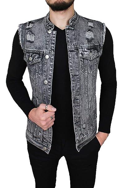 purchase cheap 00927 d0c29 Evoga Giubbotto smanicato di Jeans uomo casual grigio cotone denim giacca  slim fit moto