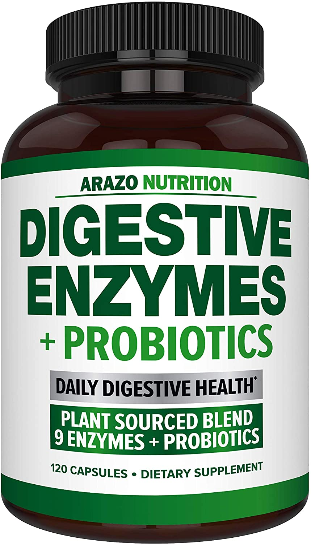 Digestive Enzymes with Probiotics - Multi Enzyme Nutritional Supplement - Acidophilus Bromelain Papaya Papain Lipase & Lactase - Improve Digestion - 120 Pills - Arazo Nutrition