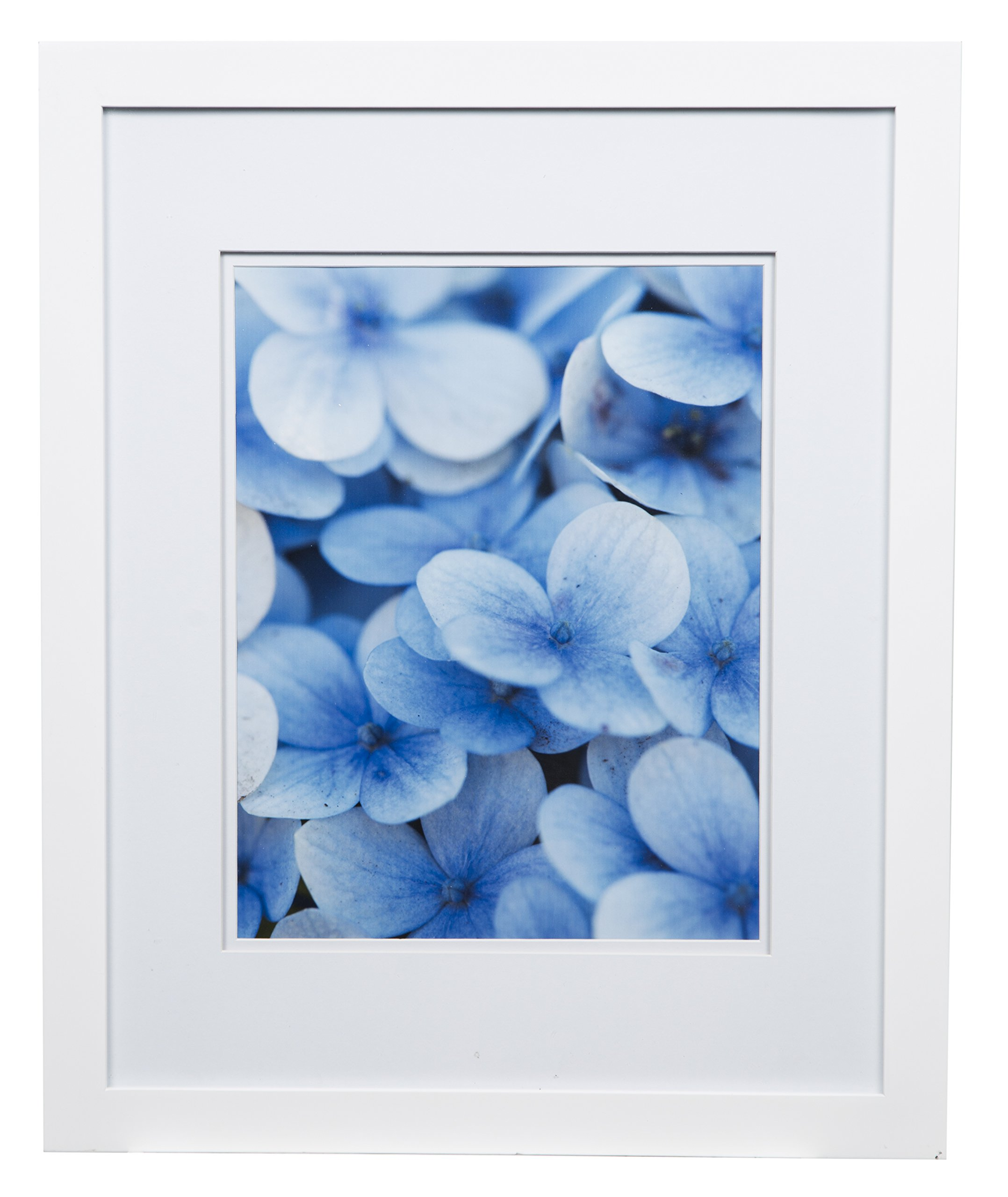 Gallery Solutions Flat Wall Picture Photo 16X20 White Double Frame, MATTED to 11X14, 16'' x 20'',