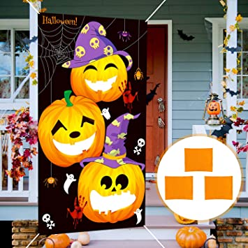 12 Pieces Halloween Throwing Game Set Bean Bag Toss Games Pumpkin Bean Bag Toss Games with 3 Bean Bags Rings Rope for Kids Halloween Inflatable Witch Hat Flag Pump