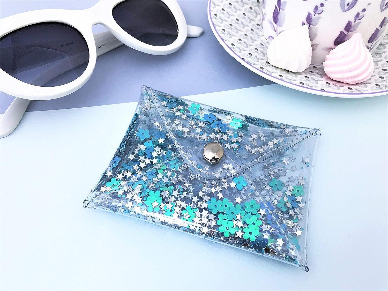Handmade Designer Small Aquamarine Transparent Glitter Coin Purse, Women's Clear Mermaid Style Credit Card Holder
