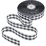 Tatuo 50 Yards Gingham Ribbon Wide Ribbon Taffeta Plaid Ribbon for Valentine's Day (Color 1, 1 Inch Wide)