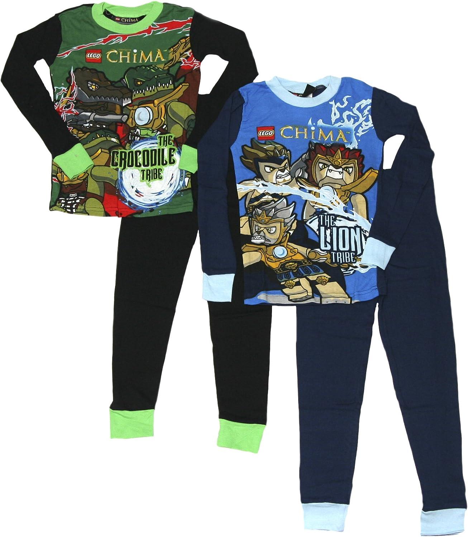 LEGO Boys Legends of Chima Tight Fit Cotton 4 Piece Pajama Set 4, Blue//Green