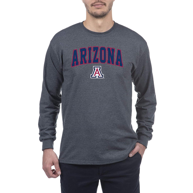 Elite Fan Arizona Wildcats Mens Long Sleeve Arch Tee Shirt Dark Heather Medium