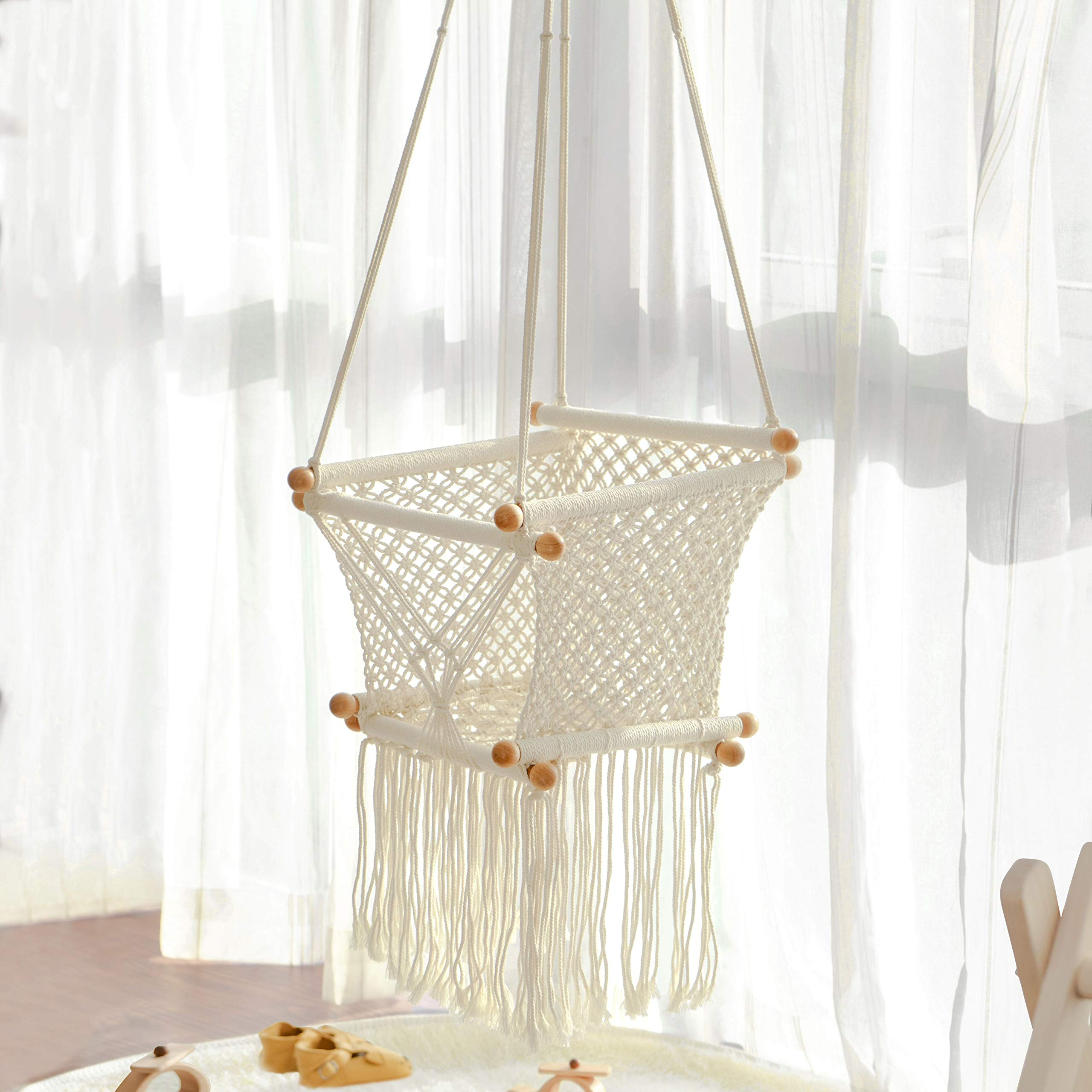 FUNNY SUPPLY Hanging Swing Seat Hammock Chair for Infant to Toddler Beige Color Cotton Rope Weaved Children's Indoor Playroom Nursery Decor Girl Birthday Gift by FUNNY SUPPLY