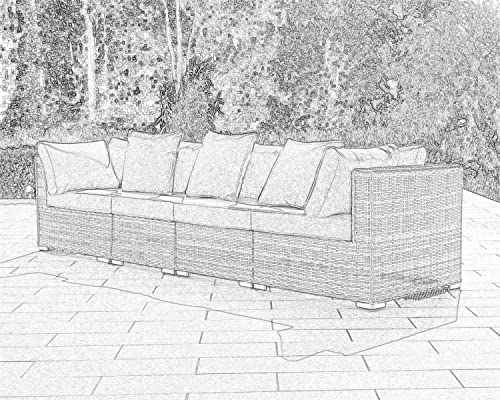 StellaHome Outdoor Furniture, Patio Sofa 4 Seater Chair All Weather Grey Wicker Aluminum Couch No Assembly with Free 2 toss Pillows and Clips