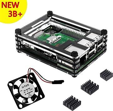 Caja para Raspberry Pi 3 Modelo B+ Plus Carcasa con Ventilador Disipadores de Calor (Negro Claro): Amazon.es ...