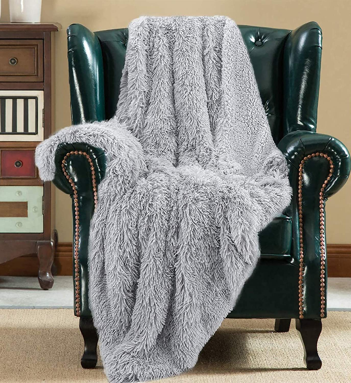 Joyfeel Fuzzy Throw Blankets For Couch Bed 50 X 60 Warm Sherpa And Soft Faux Long Fur Reversible Fleece Blanket Hypoallergenic Machine Washable Silver Grey Kitchen Dining