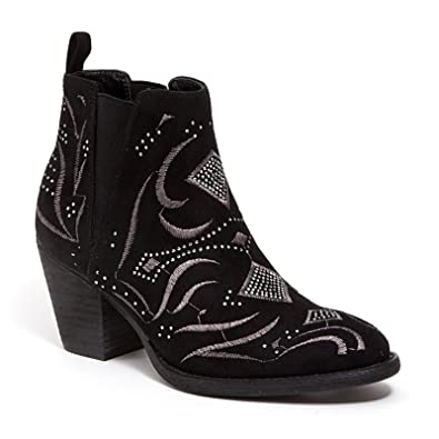 Ankle Bootie with Leather Stacked Heel and Embellishment Ninty Union women's shoes by Lady Couture SEDONA