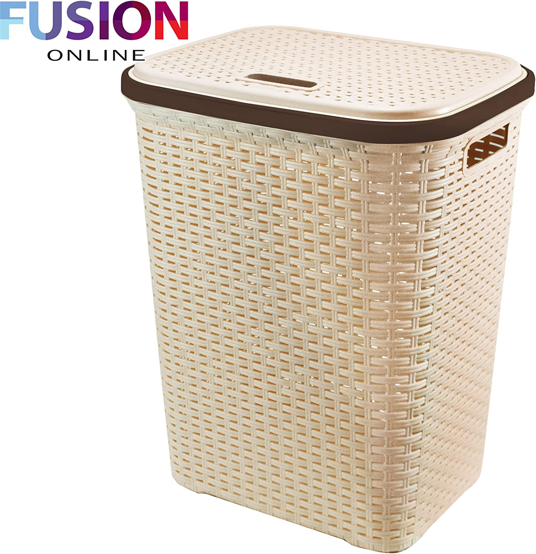 Brown Fusion LARGE LAUNDRY BASKET WASHING BASKET CLOTHES STORAGE HAMPER RATTAN STYLE PLASTIC BASKET TM