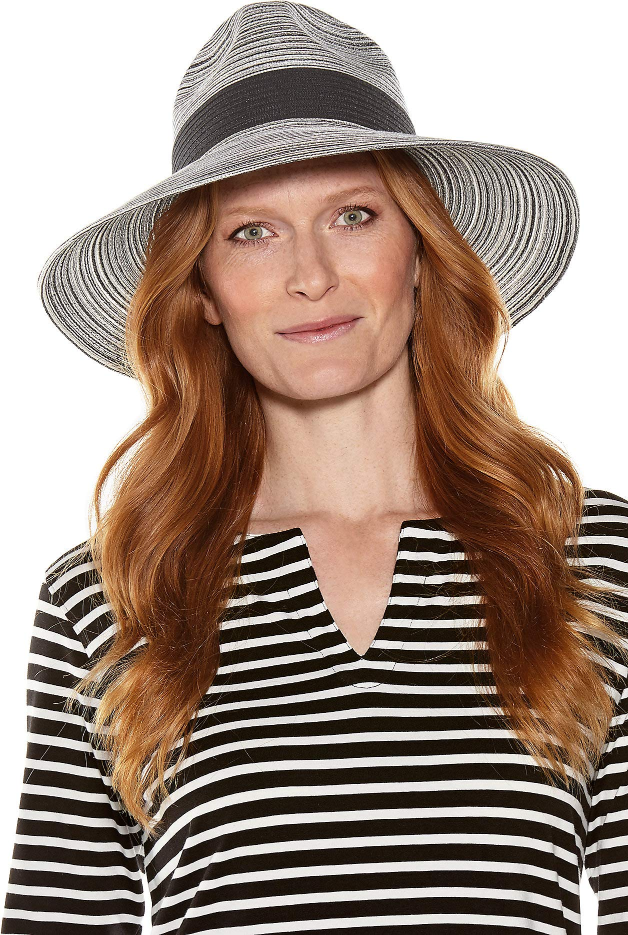 Coolibar UPF 50+ Women's Sophia Fedora - Sun Protective (One Size- Black/White Colorblock)