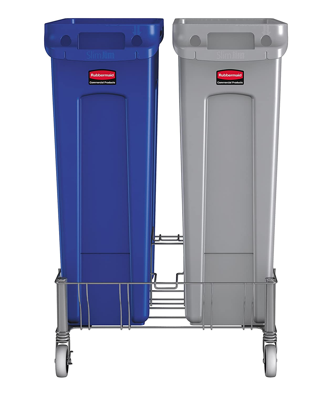 rubbermaid commercial products vented slim jim 2 trash can dolly stainless steel amazoncom industrial u0026 scientific