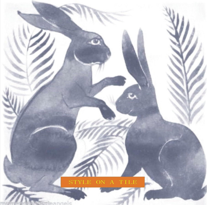 Beautiful Art and Crafts William De Morgan Grey Rabbits Hares Bunnies design b 8