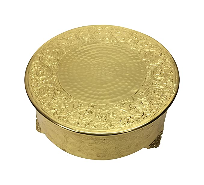 Amazon.com | GiftBay Wedding Cake Stand Round 14-Inch, Aluminum Gold ...