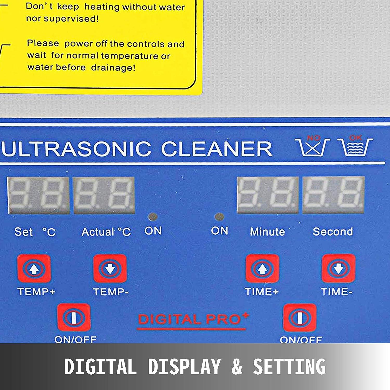 3L VEVOR Nettoyeur A Ultrasons 3L Ultrasonic Cleaner Professionnel Nettoyeur Digital Affichage Ultrasonique