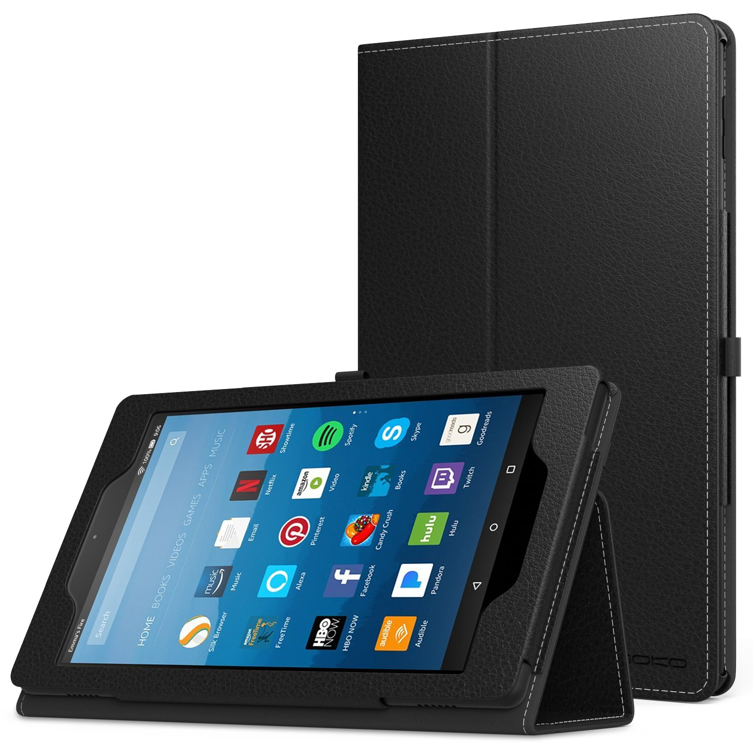 MoKo Case for All-New Amazon Fire HD 8 Tablet (7th Generation, 2017 Release Only) - Slim Folding Stand Cover for Fire HD 8, BLACK (with Auto Wake / Sleep)