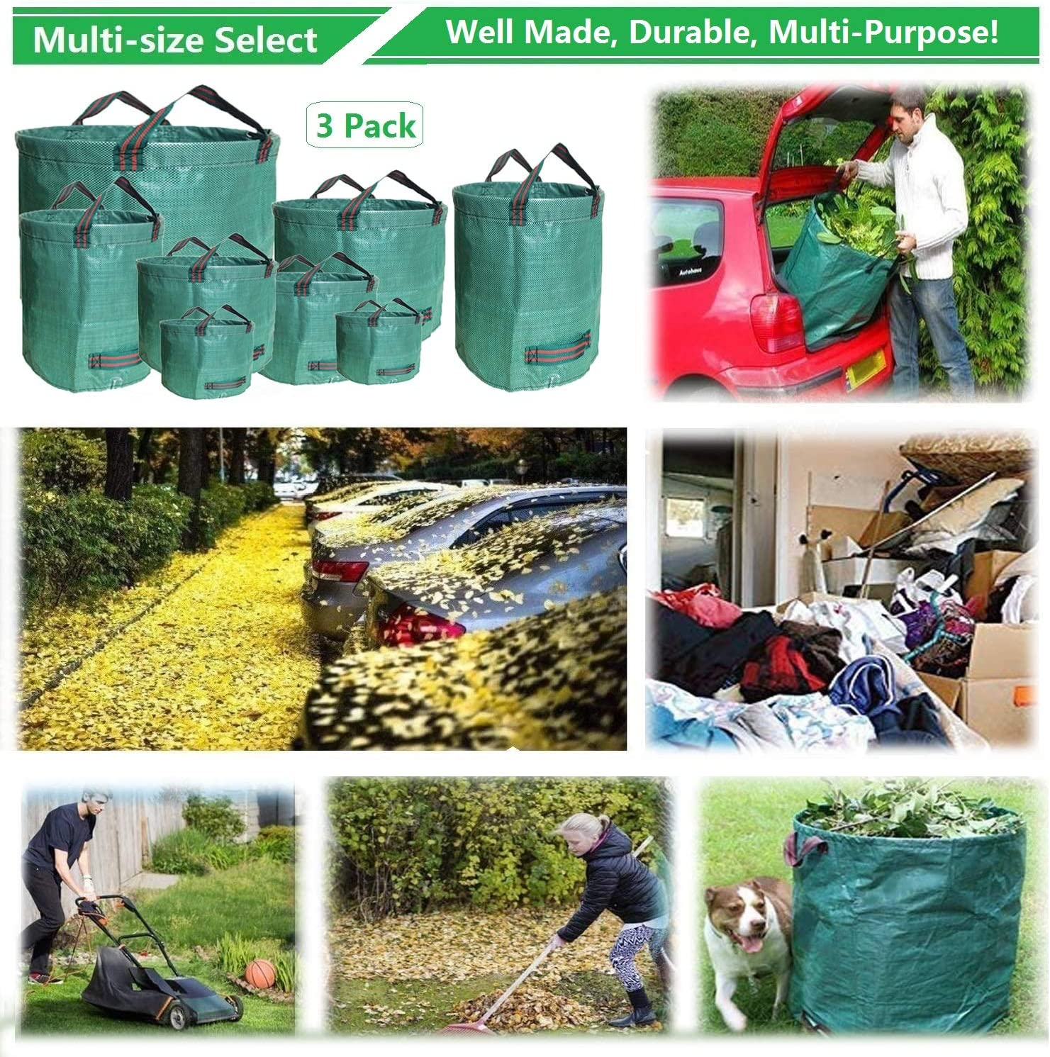 Garden Bags Rlloy 2 Pack 480L 106 Gallons Hands-Free Dustpan Making Yard Clean Up a Snap Large Reusable Garden Waste Bags Collapsible Lawn and Yard Waste Containers for Lawn Pool Garden Leaf