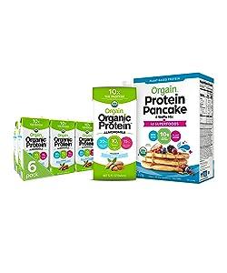Orgain Bundle - Protein Pancake & Waffle Mix, 50 Superfoods and Unsweetened Vanilla Almond Milk (6 Pack) - Vegan, Non-GMO