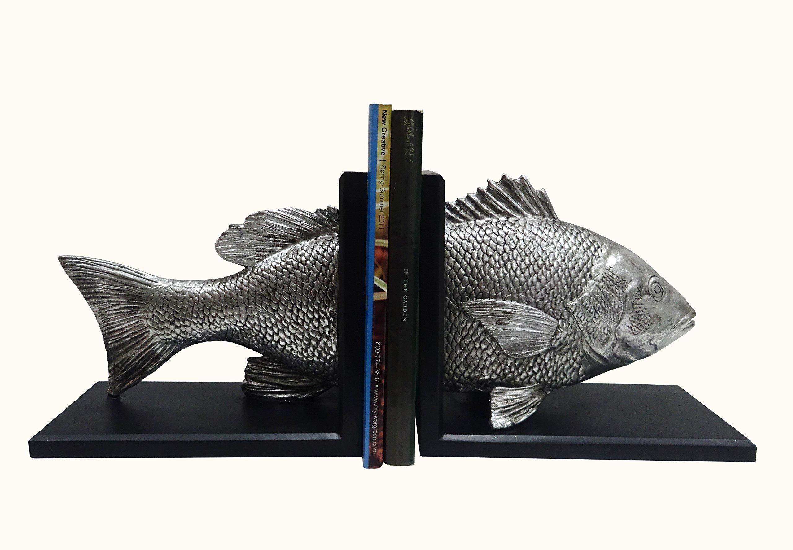 Clint Eagar Snapper Fish Figurine Bookends, 21'' L x 5.75'' W x 9'' H