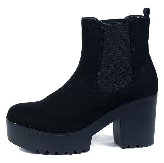 AgeeMi Shoes Mujer Cordón Elástico Suede Tacón Alto Caña Baja Botas,EuX17 Negro 41: Amazon.es: Zapatos y complementos