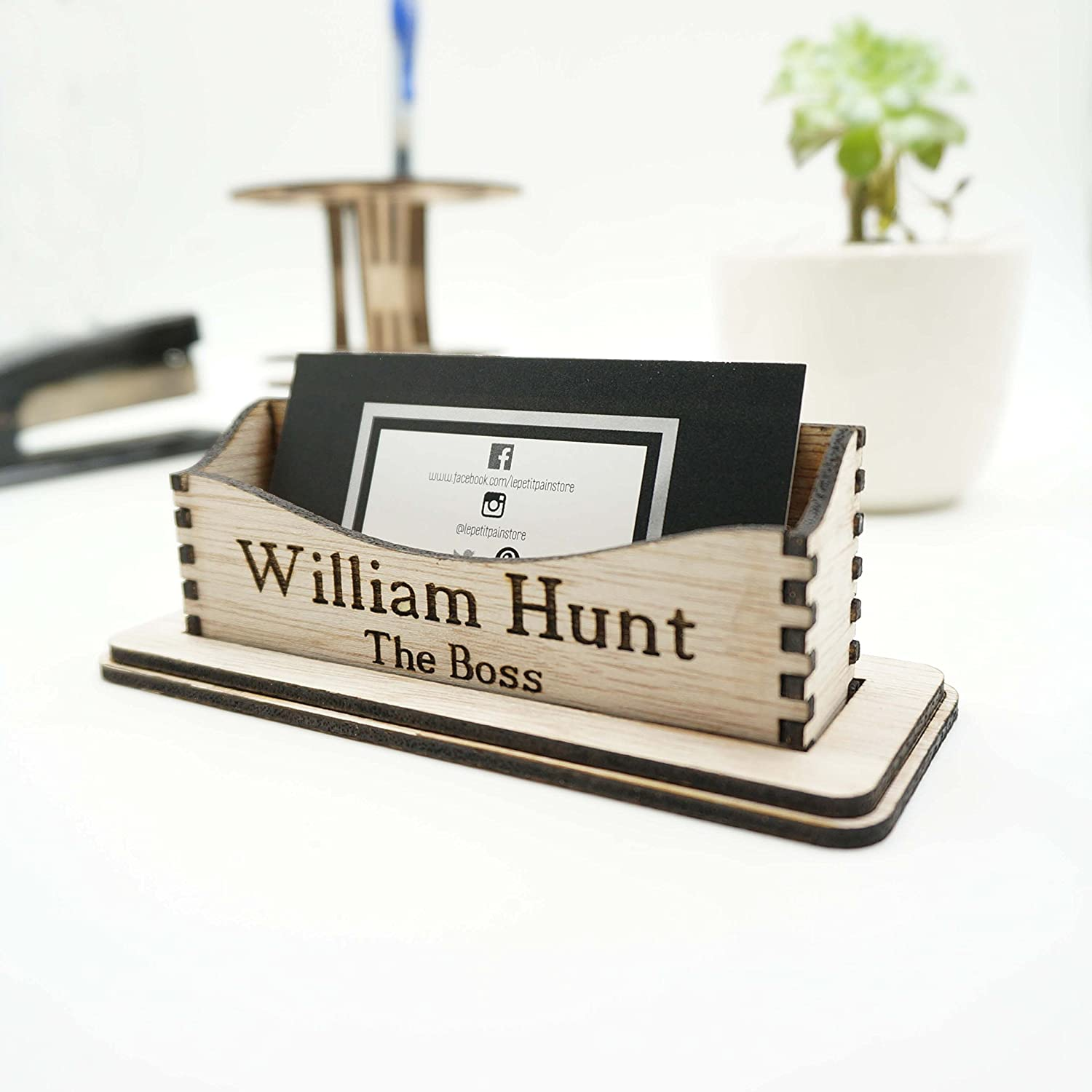 Amazon.com: Custom Personalized Name Wooden Business Cards Holder Office  Desk Tray Storage Organization Supplies Minimalist Modern Boss Coworker  Manager ...