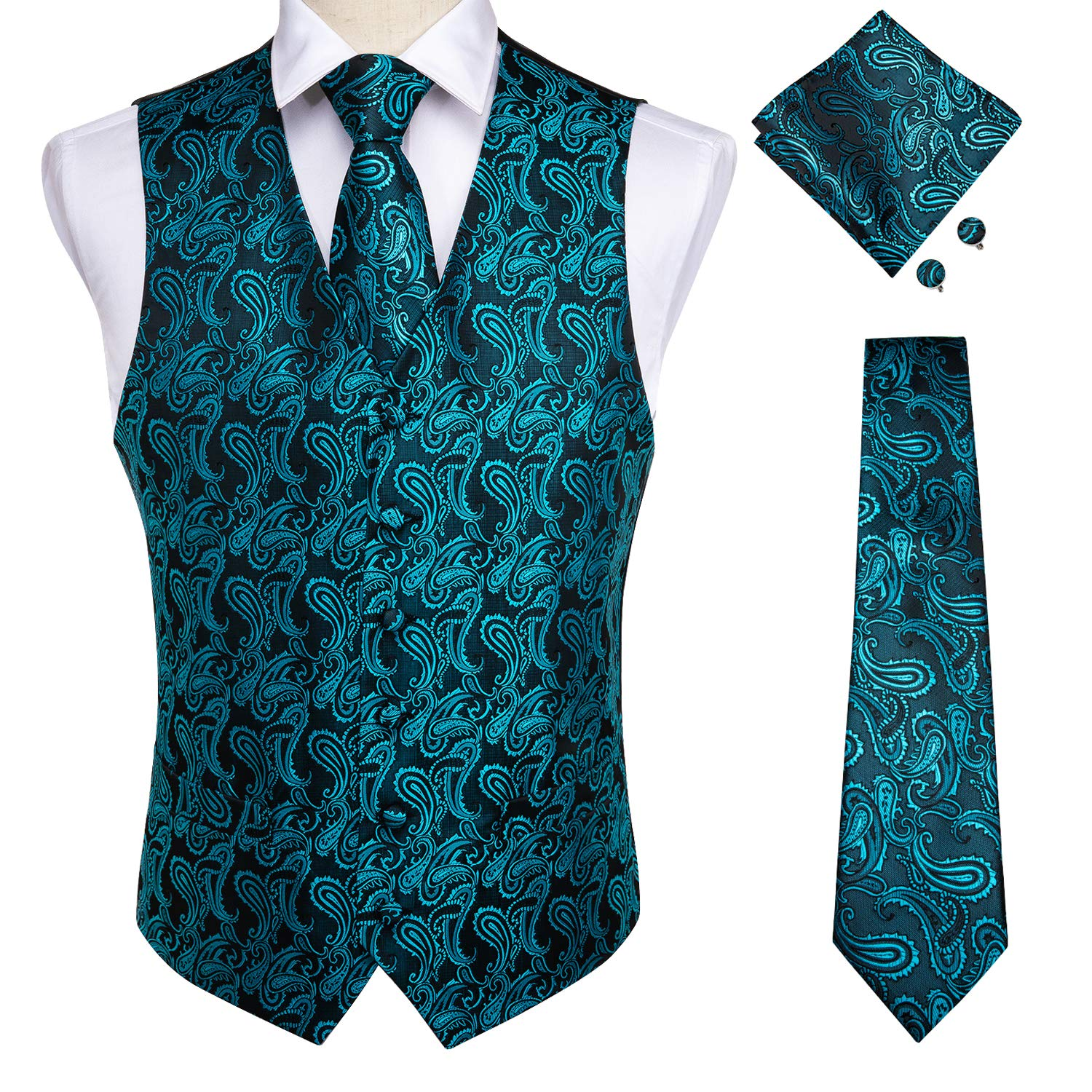 DiBanGu Men's Paisley Waistcoat and Necktie Pocket Square Cufflink Teal Vest Suit Set by DiBanGu