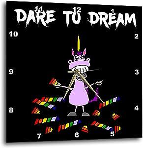 3dRose Funny Evil Purple Unicorn Eating Magical Rainbow Dare to Dream. - Wall Clocks (DPP_342283_2)