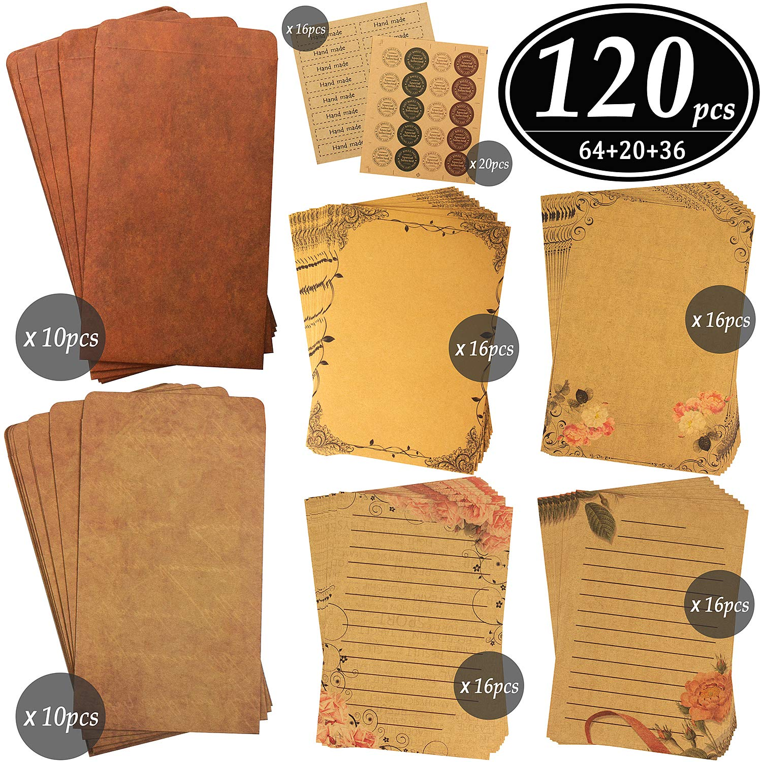 CenterZ Vintage Stationary Paper + Kraft Envelopes Set with Seal Stickers (64pcs 4 Patterns 8.3 x 5.7 Writing Stationery Papers, 20pcs 2 Colors 7.9 x 4.7 Letter Envelope, 36pcs 2 Styles Rustic Seals) by CenterZ
