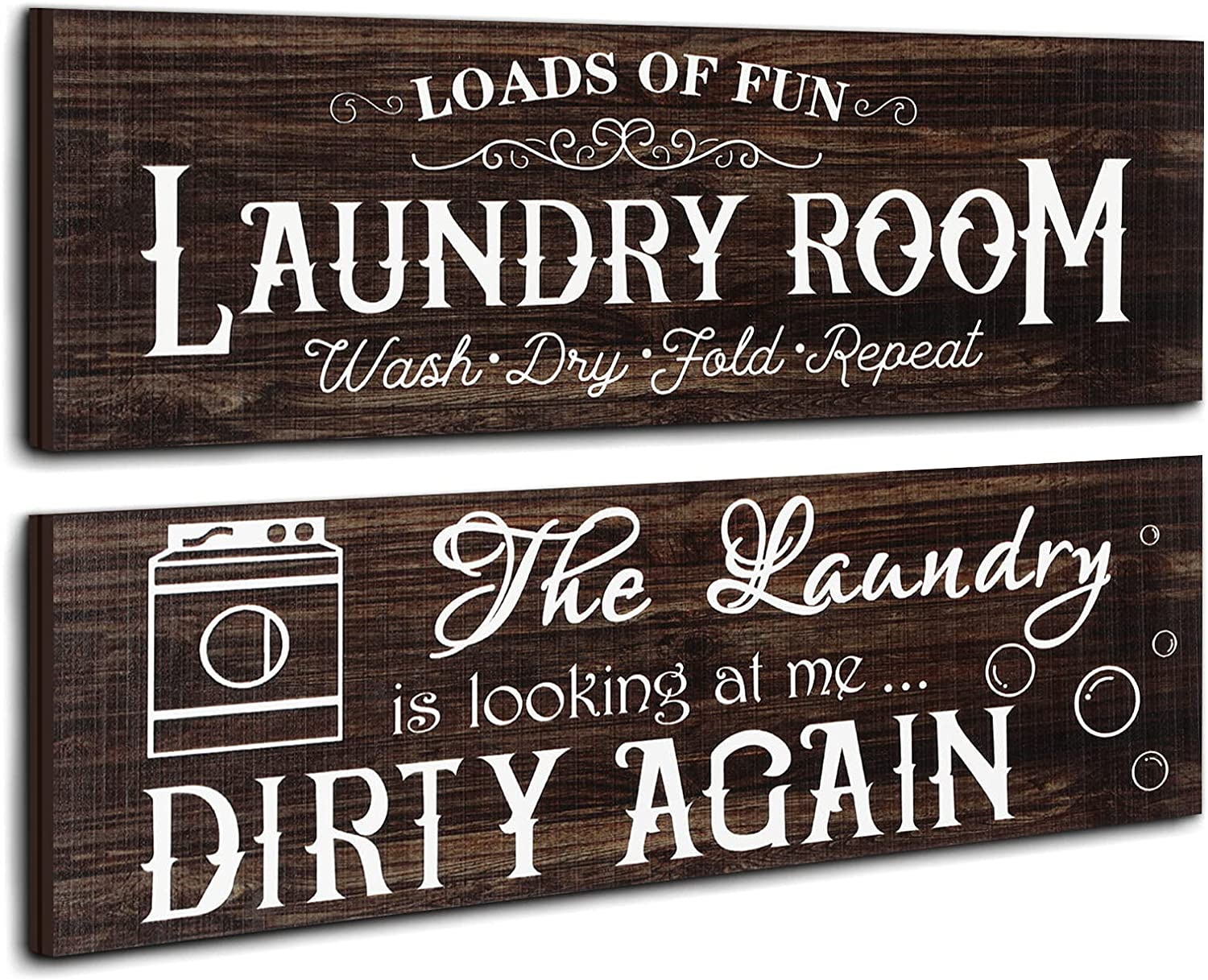 Jetec 2 Pieces Laundry Room Wooden Signs Rustic Family Farmhouse Laundry Room Wall Decor Vintage Bathroom Wall Sign Laundry Rules Hanging Printed Decor for Home Laundry Room, 13.8 x 4.7 Inch (Brown)
