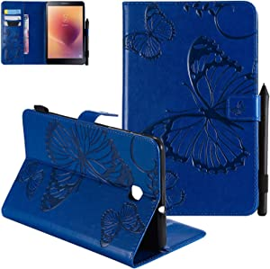 Dteck Galaxy Tab A 8.0 2018 Case, Slim Fit Embossed Butterfly Pattern PU Leather Folio Stand Case with Card Holders Cover for Samsung Galaxy Tab A 8 inch 2018 Release SM-T387 Tablet, Blue