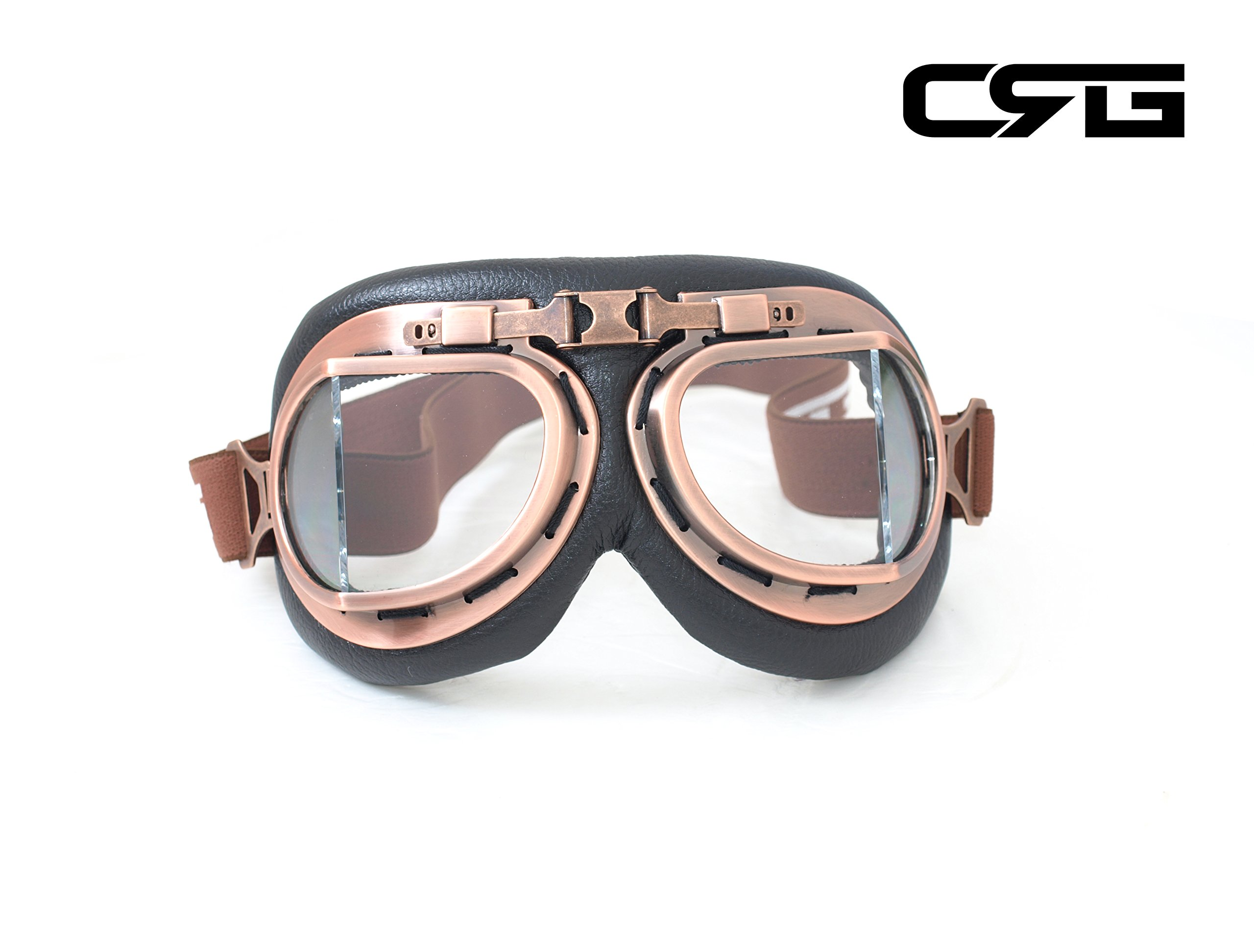 CRG Sports Vintage Aviator Pilot Style Motorcycle Cruiser Scooter Goggle T08 T08BCB - Parent (Copper Frame Clear Lens)