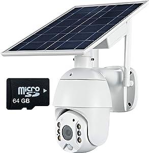 Wireless Security Camera Outdoor Solar Battery Powered, 1080P Pan Tilt, Spotlight/IR Night Vision, Waterproof, Motion Detection, 2 Way Audio, SD Card/Cloud Storage, WiFi Home Video Surveillance system