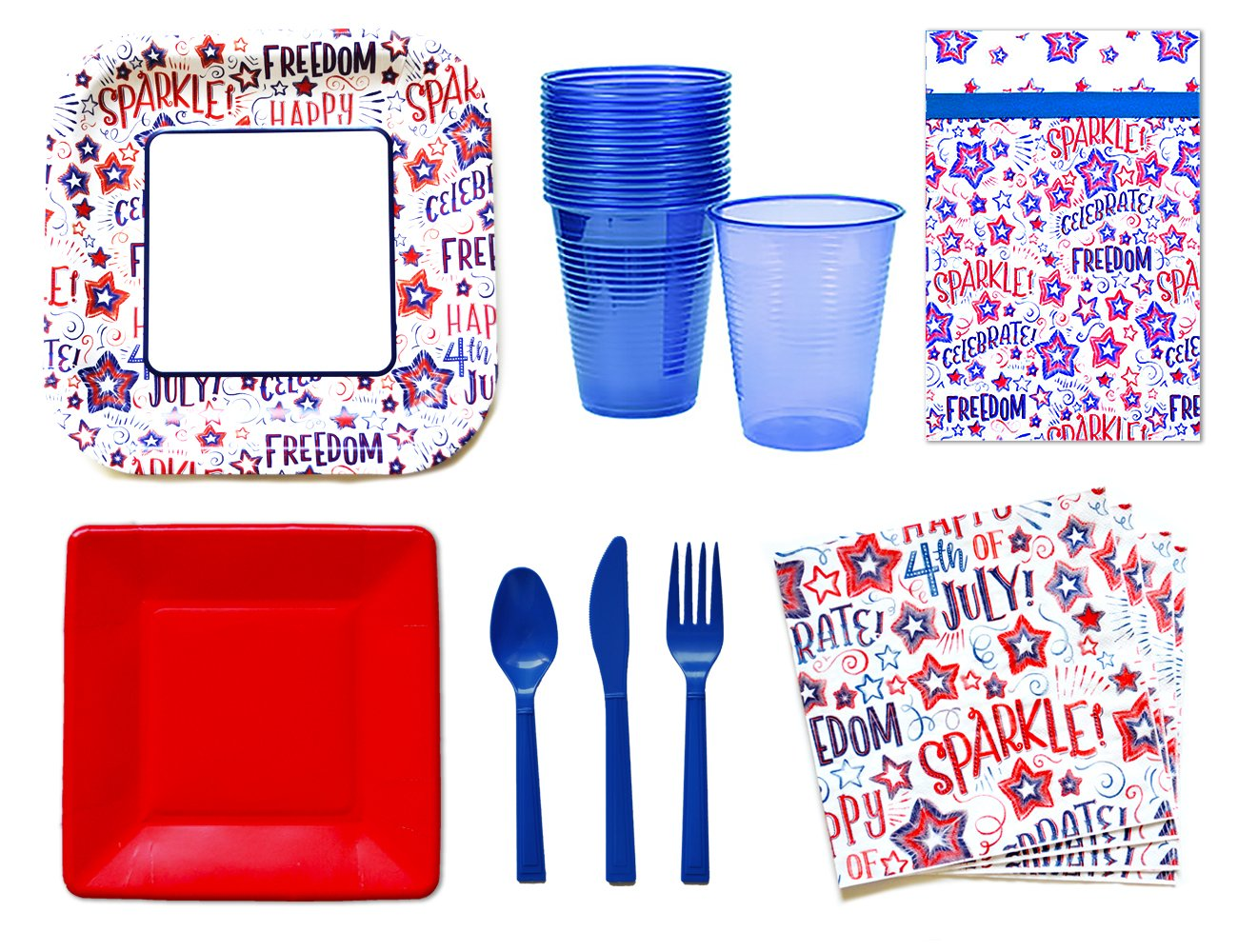 July 4th Party Supplies - Patriotic Party Supplies Set - 4th of July Party Supplies -14 Guests - Plates Napkins Cups Cutlery and Table Cover by Finley Party Supplies (Image #1)