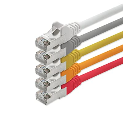 1aTTack Câble réseau 1m 2m 3m 5m 10m câble patch Ethernet Câble LAN Cat 5Cat5e Cat. 5Cat. 5e Cat 6CAT7Cat 7 2 m 5 Farben Set (1)