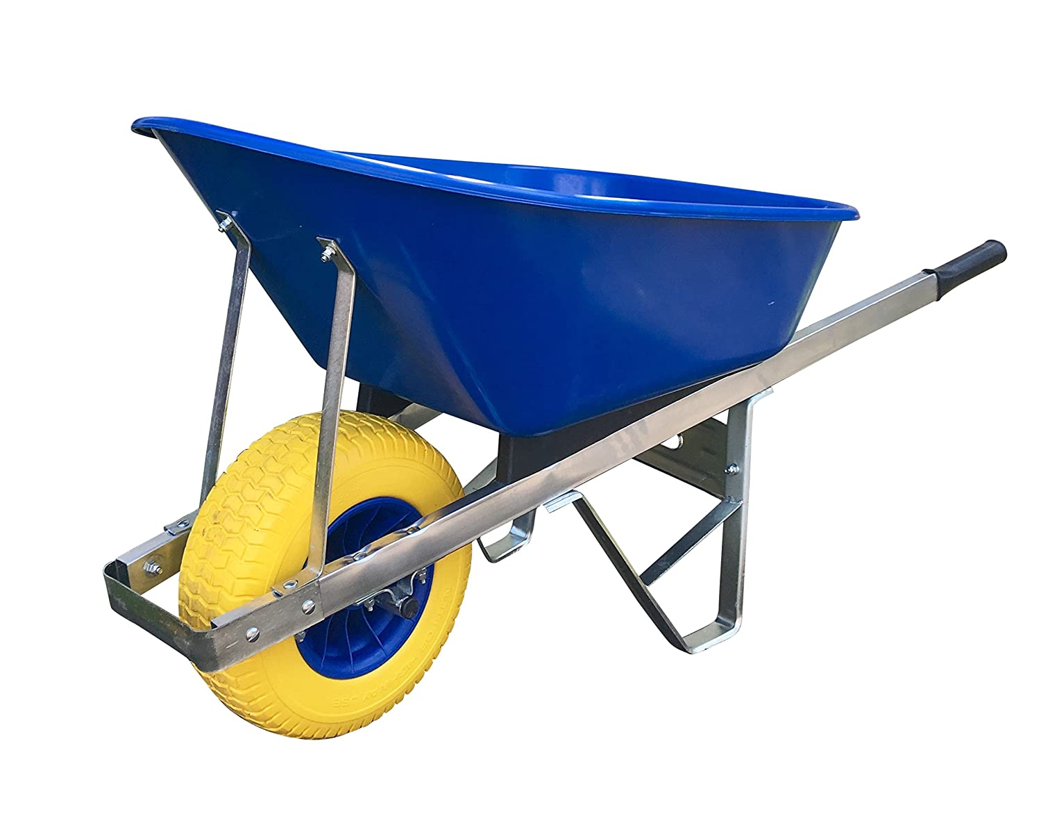 Yelding 120L wheelbarrow - Blue with 150mm puncture proof tyre delivered fully assembled Wheelbarrows Direct Ltd.