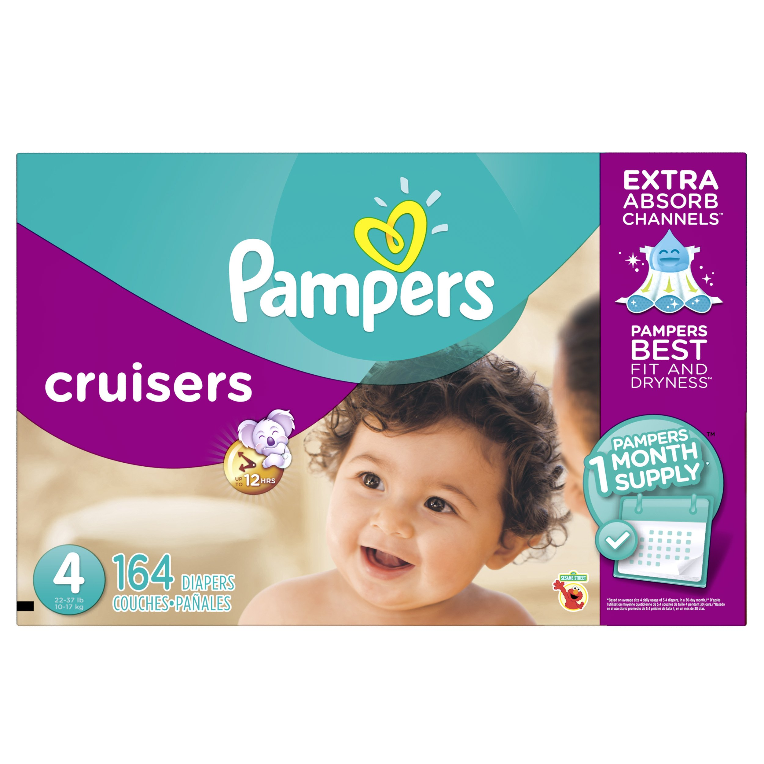 Pampers Cruisers Disposable Diapers Size 4, 164 Count, Designs May Vary (Packaging May Vary)