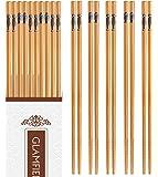 10-Pairs 8.85inch Healthy Natural Bamboo Chopsticks Reusable, Handmade Safe Practical Chop sticks, Cute Chopsticks Set…