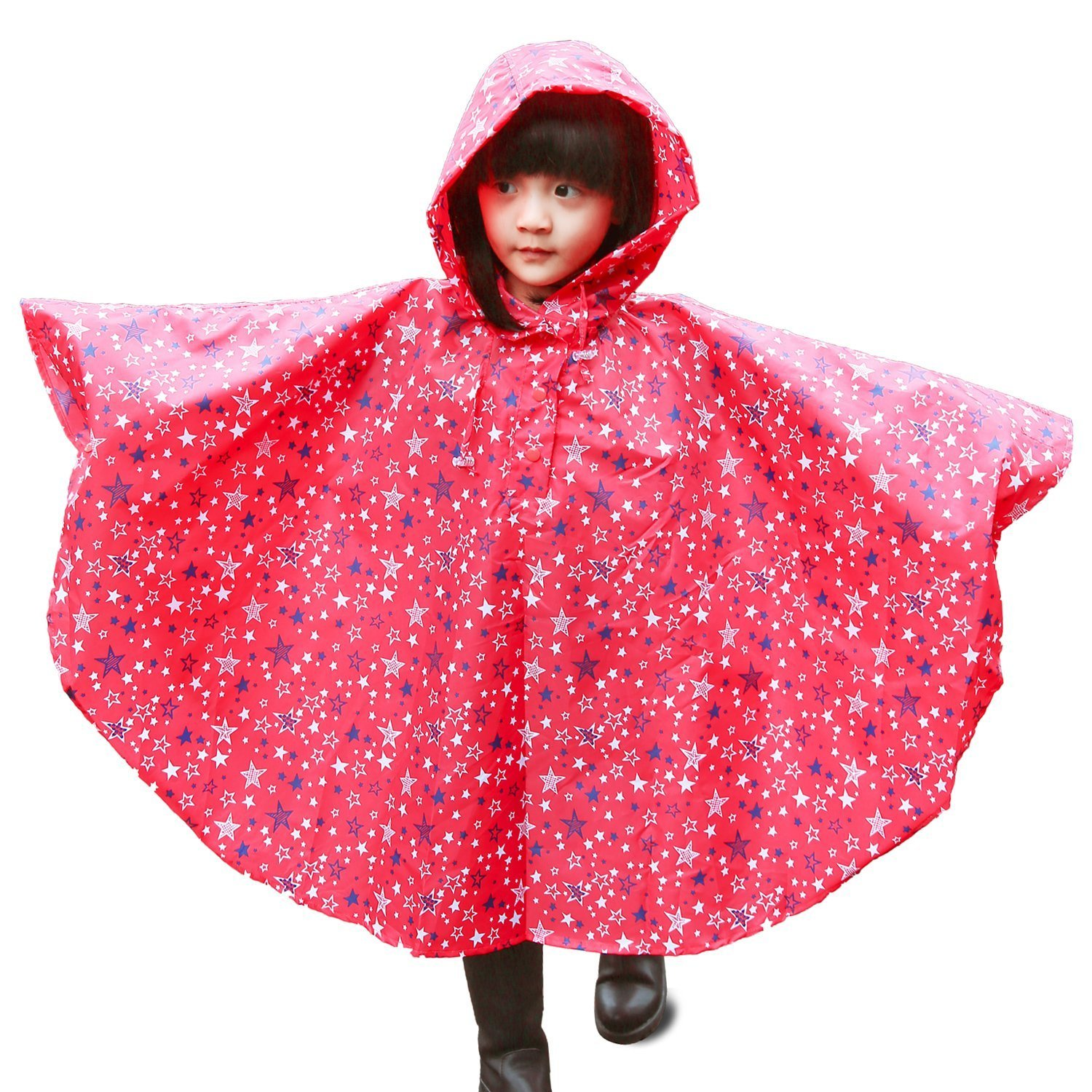 e-youth Children Hooded Rain Poncho Reusable Fashion Portable Lightweight Raincoat