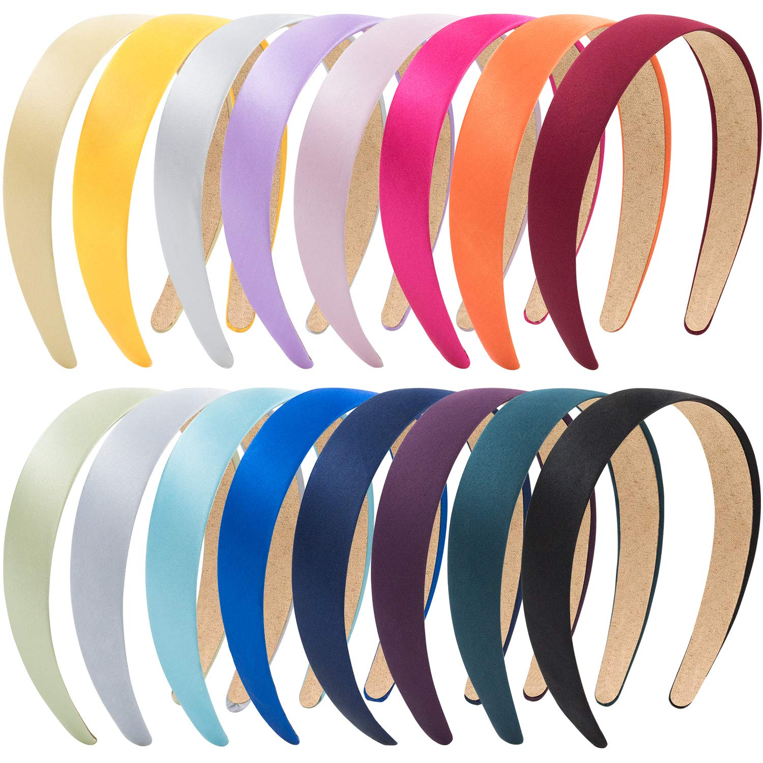 EAONE 16 Pieces Satin Headband Hard Headbands Wide Anti-slip Ribbon Hair Bands for Women Girls with 1 pouch bag, 1.2 Inch, 16 Colors by EAONE