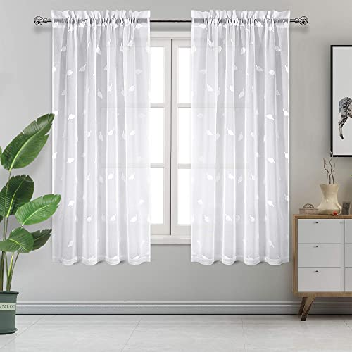 DWCN Sheer Curtains White Floral Embroidered Rod Pocket Curtain for Bedroom Living Room Linen Look Semi Voile Sheer Drapes 52×72 Inches Long, Set of 2 Panels
