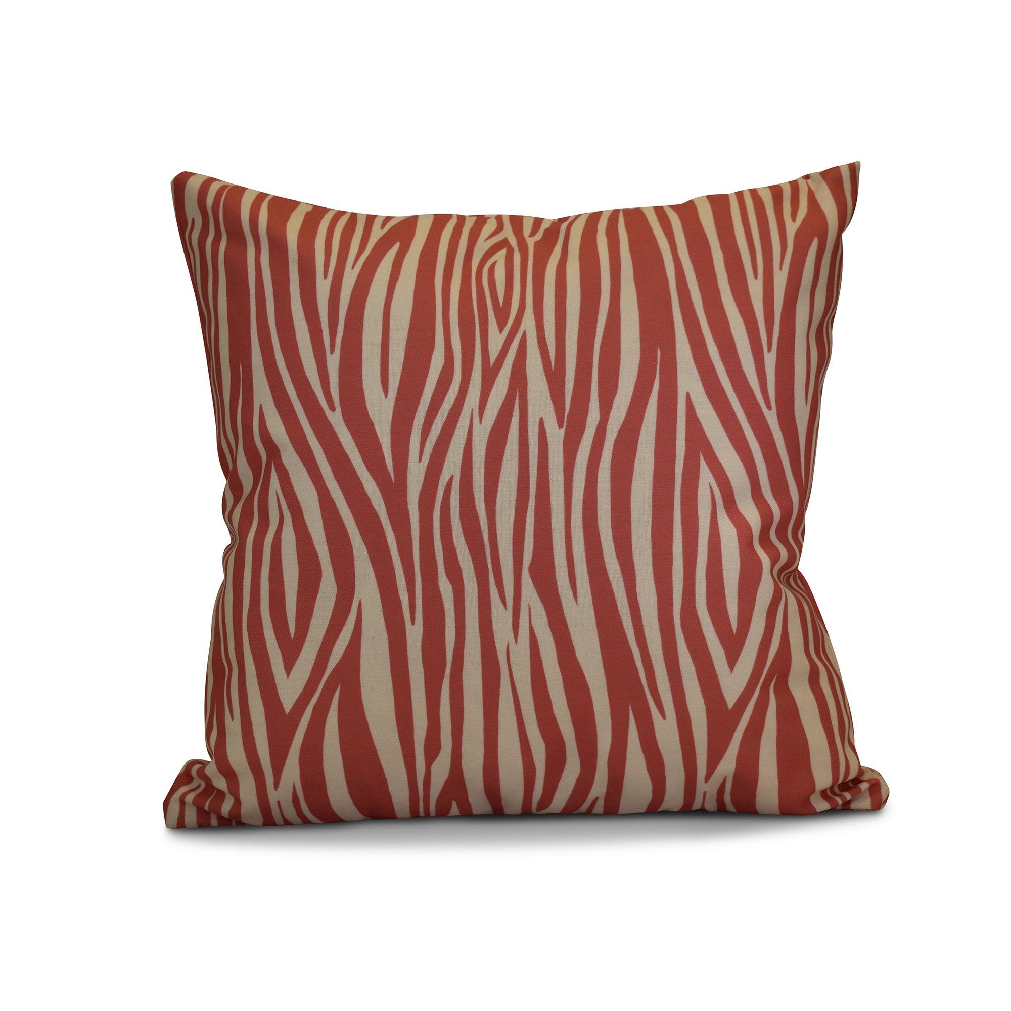 E by design 16 x 16-inch, Wood Stripe, Geometric Print Pillow, Coral