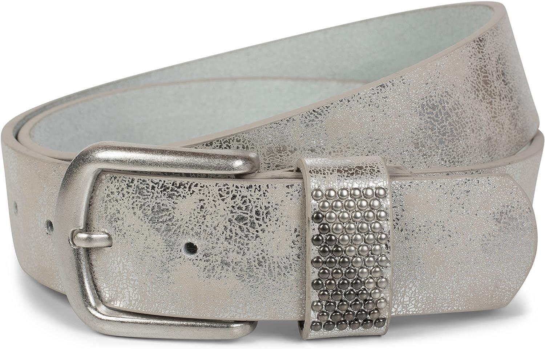 ajustable styleBREAKER Ceinture avec clous bicolores sur la boucle unisexe 03010088 ceinture /à rivets