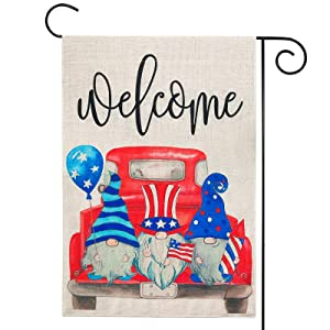 4th of July Decorations - Welcome Gnomes Fourth of July Garden Flag w Double Sided - 12x18 Inch Patriotic Decor for Yard Outdoor July Fourth Memorial Day Independence Labor