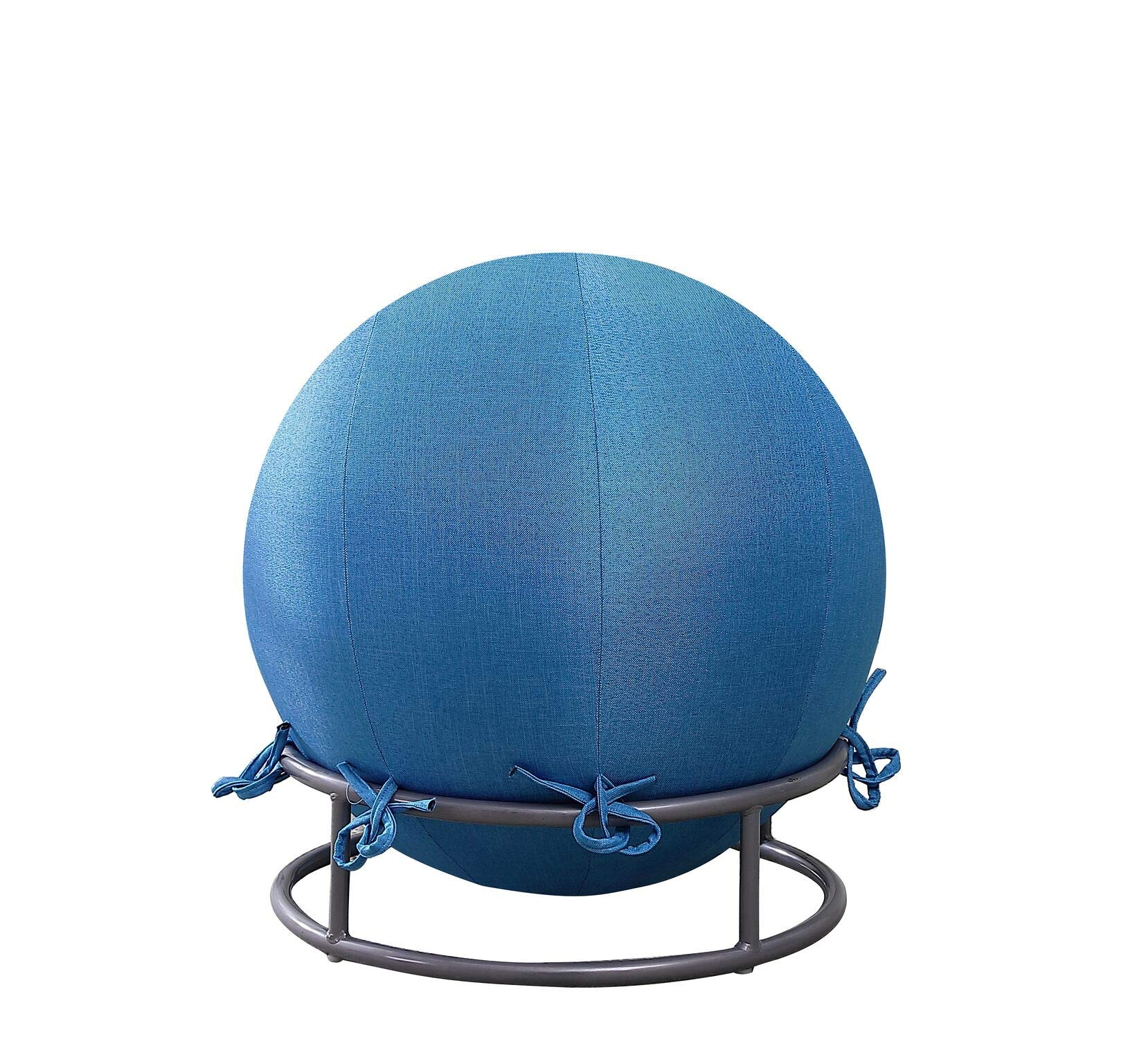 GoodGram Premium Posture Denim Fabric Yoga Exercise Balance Ball & Chair Set - Assorted Colors (Denim Blue)