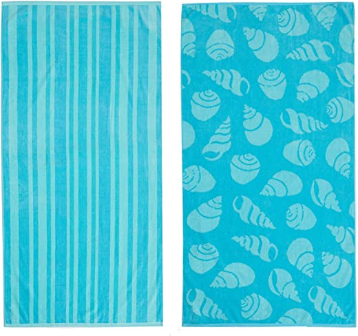 """Great Bay Home 2 PackPlushGreen Shell & Stripe PrintBeach Towels. 100% CottonNautical Beach Towels, Large Pool Towels.Maui Collection(30""""x60"""")"""