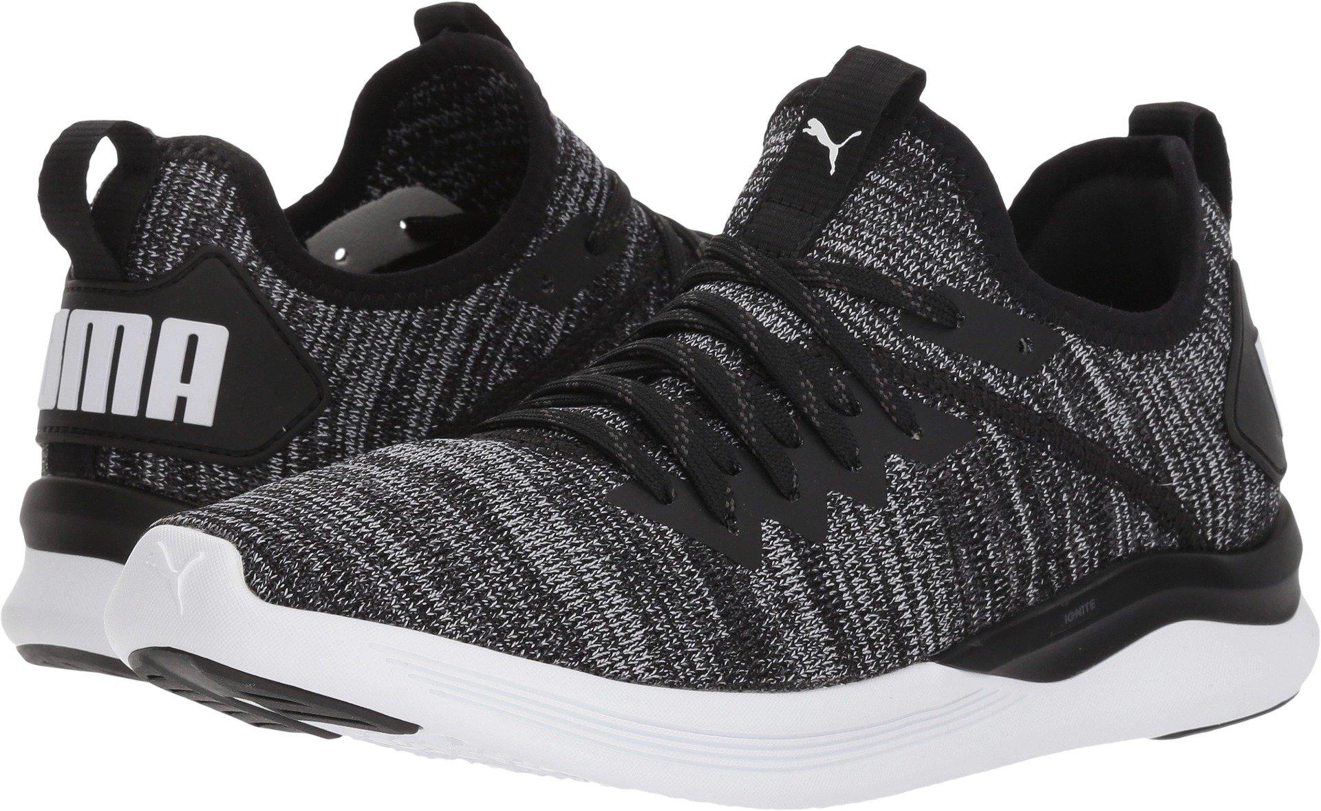 PUMA Women's Ignite Flash Evoknit Wn Sneaker, Black-Asphalt White, 7.5 M US