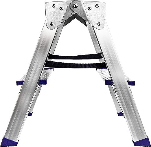 Escalera plegable de aluminio de 2 peldaños, plegable, soporta hasta 150 kg, altura 43 cm: Amazon.es: Bricolaje y herramientas