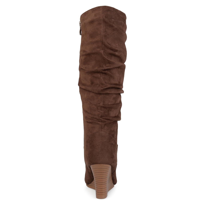 d3abc0c24 Botas de cuña a media pierna con detalle de ante y falsa gamuza Beige de  Brinley Co para mujer marrón